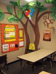 jungle theme for Rainforest Unit. With a play hut/tent & the puppet stage with jungle animal puppets. Sand table with jungle toys, jungle bean bag game, jungle reading corner. Classroom Tree, Jungle Theme Classroom, Classroom Setting, Classroom Design, Classroom Displays, Kindergarten Classroom, Classroom Organization, Classroom Ideas, Classroom Decoration Ideas