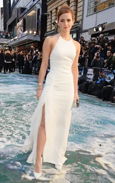 Emma Watson wows in white dress with thigh-high slit for 'Noah'