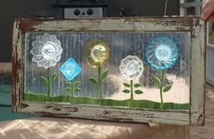 Stained Glass Mosaic Repurpose Wooden Window Plate Flowers Vintage via Etsy from Artfull Salvage in Florida.  I could use an old window with some old glass plates.  Cut out leaves and stems from glass, or, would glass patio paints work?