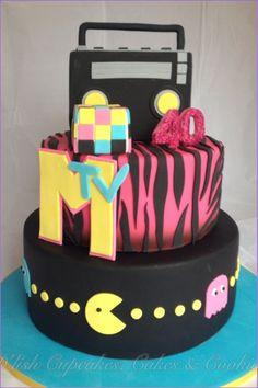 80's cake, rubics cube, MTV, pacman