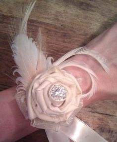 Wedding Wrist Corsage  Romantic Rose and by CherubinoCrafts, $25.00