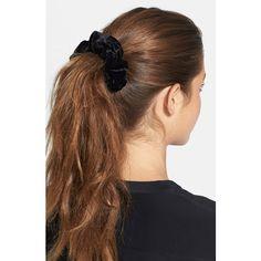 L. Erickson 'Medium' Silk Scrunchie (585 CZK) ❤ liked on Polyvore featuring accessories, hair accessories, silk velvet black, scrunchie hair accessories, l. erickson, l. erickson hair accessories and black hair accessories