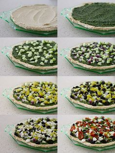 A Mediterranean layered dip that sounds delicious! -Hummus -Cilantro pesto -Cucumber, seeded and diced -Red onion, diced -Banana peppers, chopped -Sliced olives (black or Kalamata) -Crumbled feta cheese -Oven-dried tomatoes Appetizer Dips, Appetizer Recipes, Yummy Appetizers, Tandori Chicken, Mediterranean Dip, Oven Dried Tomatoes, Greek Dip, Good Food, Yummy Food