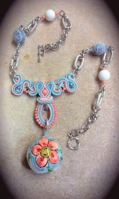 Soutache necklace with Caltagirone ceramic (typical of Sicily)