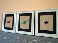 Dinosaur Nursery Wall Art / Set of Three Burlap Art Prints $30