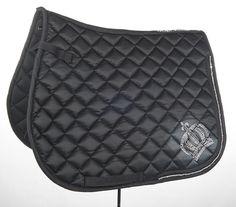 Saddle pad Numnah black padded luxury HKM GLOOCKLER diamante crystal crown