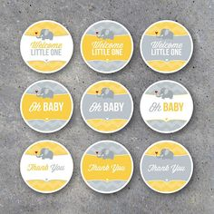 Baby Shower Tags Party Favor Tags, Gift Tags, Party Favors, Baby Shower Tags, Baby Showers, Cute Elephant, Gender Neutral Baby Shower, Printable Tags, Thank You Tags