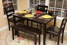 Furniture 5-Piece Dining 1-Table 3-Chair1-Bench Coffee Set Dark Brown