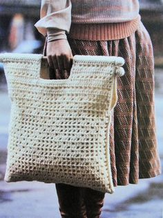 INSTANT PDF PATTERN Vintage 1960s Aran Tote Bag Crochet Pattern Perfect For Shopping Handy Size Cro