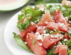 Frisse salade van watermeloen, feta en munt