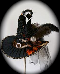 Rich Elaborate Hand Sculpted Victorian Witch Hat by StudioSisu