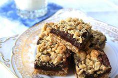 Oatmeal & Chocolate Fudge Layer Bars Recipe by CookinCanuck, http://www.cookincanuck.com/2010/01/oatmeal-chocolate-fudge-layer-bars/#