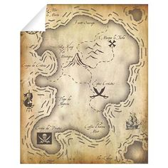 Pirate Map 16x20 Wall Decal