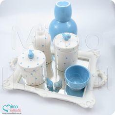 Kit Higiene Cerâmica para decoração de quarto de bebê e infantil KH0105, passáros, passarinhos, poá, azul   SP, BH, MG, RJ, DF