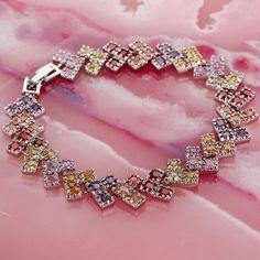 Brilliant Princess Cut Amethyst Morganite Garnet Gemstone Solid Silver Bracelet #LingLing #Fashion