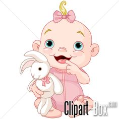 CLIPART BABY GIRL WITH RABBIT | Royalty free vector design