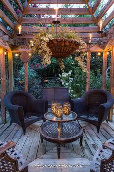Outdoor Pergola Lighting Ideas - Gardening @ From House To Home - From patio string light ideas to outdoor chandeliers, find all kinds of pergola light ideas to make - Gazebo Pergola, Building A Pergola, Pergola Shade, Metal Pergola, Wisteria Pergola, Modern Pergola, Covered Pergola, Patio String Lights, Outdoor Hanging Lights