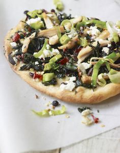 Dinner #recipe: Greek Pizza with Chicken. (Hint: Use leftover roast chicken for super-easy prep!)