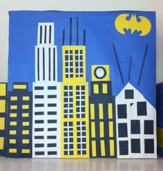 Building Skyline  I just finished creating two more building skyline for my son's Batman birthday party. I am really proud and delighted with the result of these artworks, I think it looked fantastic!!!! I can't wait to put everything together on Sunday :))!!!!.