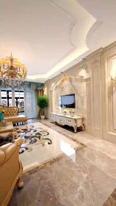 Ceiling Design Living Room, Decor Home Living Room, Home Room Design, Home Interior Design, High Ceiling Living Room Modern, Mansion Interior, Luxury Homes Interior, Luxury Rooms, Luxurious Bedrooms