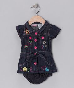 Take a look at this Denim Fun Hearts Dress & Diaper Cover - Girls by Fall Forward: Girls' Apparel on #zulily today!