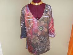 Jane Ashley Sz L Women's Multicolor Floral Knit Top #JaneAshley #KnitTop