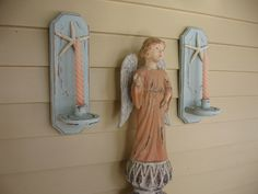 Shabby Chic Painted Wall Sconces, Candle Holders, Aqua Blue Candleholders, Shabby Chic Beach cottage decor, Shabby chic lighting, SCT by Fannypippin on Etsy https://www.etsy.com/listing/178408423/shabby-chic-painted-wall-sconces-candle