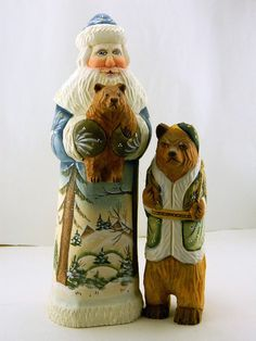 RUSSIAN CARVED HANDPAINTED WOODEN SET SANTA WITH BEAR FAMILY