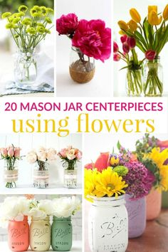 With spring here and summer around the corner, mason jar centerpieces using flowers is a great way to spruce up your table.  You can put anything you want into your mason jar centerpieces, but these mason jar centerpieces using flowers will add a beautifu