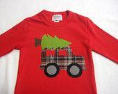 Boys Christmas Applique Shirt - Truck with Christmas Tree Applique