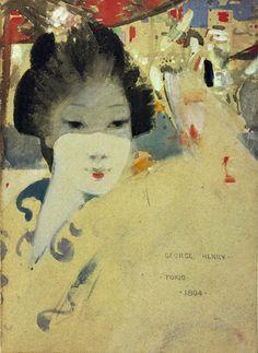 Japanese Beauty, 1894 by George Henry (Scottish August Macke, Barnett Newman, Alex Colville, John Piper, Carl Larsson, Audrey Kawasaki, Edward Hopper, Andrew Wyeth, Japanese Beauty