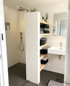 - Shower room - - # bathroom renovations - Badezimmer Re . - – Shower room – – # bathroom renovations – Badezimmer Re … Open Shelving, Room Furnishing, Bathroom Renovation, Shower Room, Bathroom Decor, House Bathroom, Bathroom Remodel Designs, Bathroom Interior Design, Bathroom Renovations