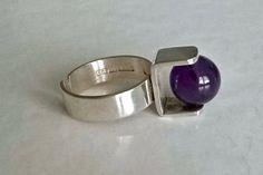 #buyitnow > Kultaseppä Salovaara (FI), modernist sterling silver and amethyst ring, 1971. #finland | finlandjewelry.com