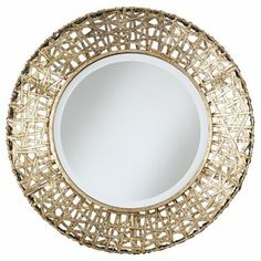 """Alita Champagne with Beveled Glass Round Wall Mirror - #EU91552 - Euro Style Lighting, 32""""d, $283.80"""