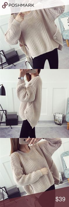 "Side button deco knit sweater Side button deco knit sweaterBoutique Light tan. Material-. Length: 18(front)-22(back); bust-43"", sleeve length: 14.5"", shoulder: 23"". ONE SIZE Sweaters"