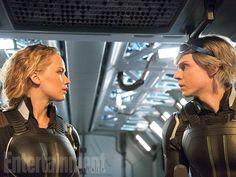 Raven/Mystique (Jennifer Lawrence) and Peter/Quicksilver (Evan Peters)