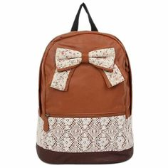 Amazon.com: Generic Girls Vintage Canvas Bow Cute Rucksack Satchel Travel Schoolbag Bookbag Backpack (Brown): Beauty