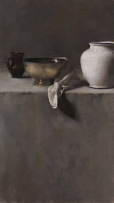 Vertical Still Life in Greys by Dana Levin, Oil on canvas