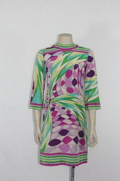 EMILIO PUCCI 1960's Vintage Dress  Purples by VintageFrocksOfFancy