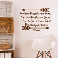 Wall Decal DR SEUSS DECALS You Have Brains In by FabWallDecals