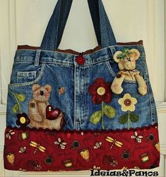 How to make bag from old jeans - Simple Craft Ideas How to make bag from old jeans - Simple Craft IYou can find Jeans and more on ou. Denim Handbags, Denim Tote Bags, Denim Purse, Jean Crafts, Denim Crafts, Diy Jeans, Recycle Jeans, Blue Jean Purses, Denim Ideas