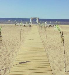 Simple beach wedding // chuppa