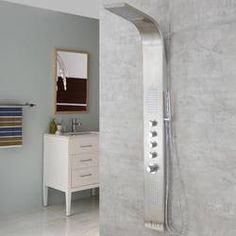 Luxier 59 Stainless Steel (Silver) Rainfall Waterfall Shower Panel Tower Rain Massage System Pressure-balanced Faucet with Jets Shower Tower Panel, Shower Panels, Stainless Steel Panels, Waterfall Shower, Fixed Shower Head, Walk In Shower Designs, Rainfall Shower, Hand Held Shower, Shower Systems