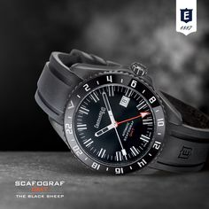 """Discover the new Scafograf GMT """"The Black Sheep"""" Limited edition: 500 totally-black look pieces with triple time zone function. Visit our website for more info: http://www.eberhard-co-watches.ch/…/scafograf-gmt-the-blac…/"""