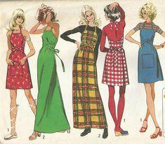 Vintage 70s Simplicity 5021 Misses Back Wrap Sun Dress Apron