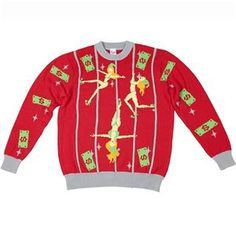 Pole Dancing Elves Adult Ugly Christmas Sweater - 408162 | trendyhalloween.com