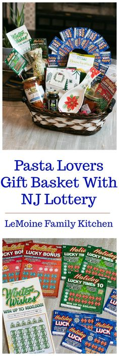 This Pasta Lovers Gift Basket With NJ Lottery is just gorgeous and packed with the newest NJ Holiday Scratch-Offs, pasta, sauce, olive oil and more! Holiday Baskets, Gift Baskets, Lovers Gift, Gift For Lover, Pasta Sauce Olives, Cute Gifts, Best Gifts, Holiday List, Red Paper