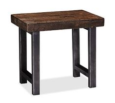 Great Room: Griffin Side Table by PB. Crafted of solid reclaimed pine and iron. (27w x 17d x 26h) $399 each + $40 delivery surcharge