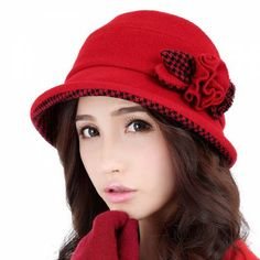 Womens winter hats flower decorated trilby hat