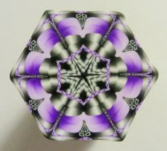 LARGE Black White and Purple Hexagon Polymer Clay by ClaybyKerm, $10.00